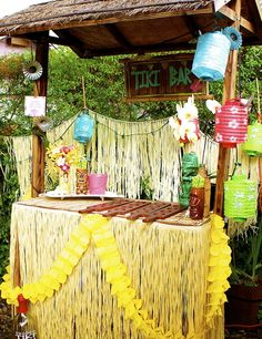Tiki bar at a Hawaiian Luau Summer Party! See more party ideas at CatchMyParty.com!