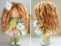 Handmade doll toy Tilda doll Interior doll Art doll brown green colors soft…