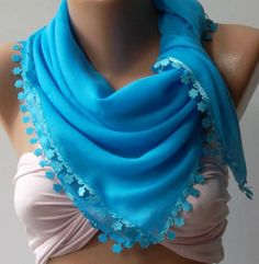 Blue Shawl with Lace  Turkish Shawl  Anatolians Scarf  by womann, $15.90