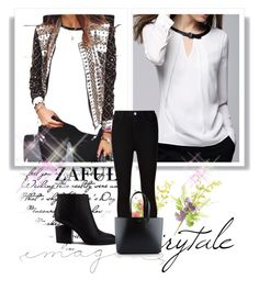 """http://www.zaful.com/white-jewel-neck-long-sleeve-blouse-p_81137.html?lkid=2989  http://www.zaful.com/checked-sun-print-thin-jacket-p_73094.html?lkid=2989"" by goldenhour ❤ liked on Polyvore featuring AG Adriano Goldschmied, Alexander Wang and Yves Saint Laurent"