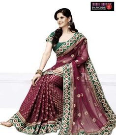 Perfect for any occasion! Maroon And Green Brocade-Net-Raw Silk Saree http://www.snapdeal.com/product/women-apparel-sarees/DesignerWe-86810?pos=11;1219?utm_source=Fbpost_campaign=Delhi_content=188655_medium=180512_term=Prod