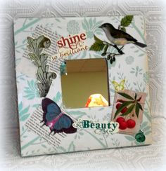 Shabby and Chic Bird Inspired Altered Art Decorative Mirror - Whimsical Cottage Style Wall Decor