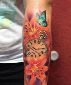 Blume Schmetterlingsuhr Arm Tattoo bunt Source by Mommy Tattoos, Dope Tattoos, Baby Tattoos, Pretty Tattoos, Unique Tattoos, Leg Tattoos, Flower Tattoos, Body Art Tattoos, Beautiful Tattoos
