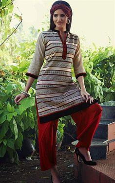 Classy Beige and Maroon Color Casual Salwar Kameez