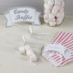 Use this pink candy bar kit from our Vintage Lace range to make your Candy Buffet look stylish and inviting. Kit includes a Candy Buffet sign, 25 pretty pink stripy bags, 3 tie on labels and 3 handy scoops. Blue Candy Bars, Pink Candy, Wedding Candy, Wedding Favours, Wedding Decor, Wedding Ideas, Kit, Marshmallow Smores, Marshmallows