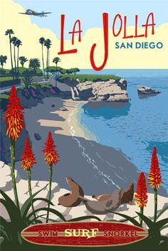 La Jolla, San Diego, California, vintage poster print