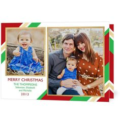 Wrapping It Up - Folded Holiday Photo Cards in scarlet red