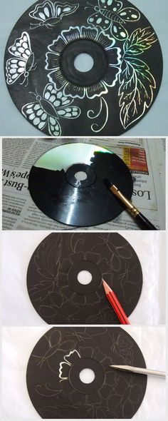 Art Use up those old CDs you no longer play by turning them into gorgeous scratch art.Use up those old CDs you no longer play by turning them into gorgeous scratch art. Old Cd Crafts, Arts And Crafts, Crafts With Cds, Upcycled Crafts, Diy Crafts, Recycled Art Projects, Craft Projects, Recycled Cds, Kratz Kunst