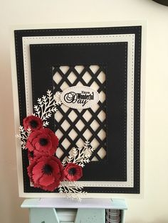 brens cards sue Wilson stitched lattice frame and exquisite poppy