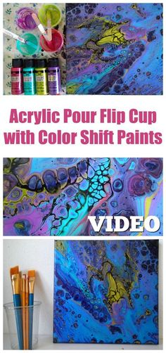 Flip cup fluid acrylic pour painting with Color Shift paints. Video shows you how to get cells without using a torch.
