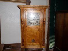 Tiger maple wooden works clock