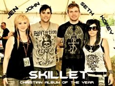 Skillet...awesome band!! this bamd is amazing and its sad because most people dont know this band it makes me cry because there the best band in the world i wish more people knew about them that was my rant but it was a true rant so im happy lets spread skillets name around so the world knows who they are