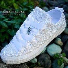 Blush Bridal Converses with Ivory Lace Converse Limited Edition — Wedding Tennis shoes – Wedding Co - bride shoes wedding Bride Sneakers, Bride Converse, Converse Wedding Shoes, Wedding Sneakers, Converse Shoes, Rhinestone Converse, Wedding Tennis Shoes, Wedding Shoes Bride, Wedding Day