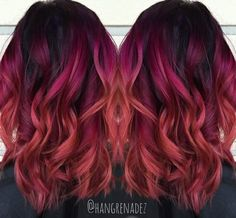 Purple to Red Ombre Hair Color, Red, Ombre, Red, Ombre - sac modeli - Hair Styles Red Ombre Hair, Red Hair Color, Red Color, Hair Colors, Red Hair With Blue Highlights, Red Purple Hair, Pastel Highlights, Red Burgundy, Ombre Color