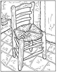 Free coloring page coloring-adult-van-gogh-la-chaise-et-la-pipe. coloring-adult-van-gogh-la-chaise-et-la-pipe