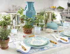 I love the combination of blues and greens in this table setting.