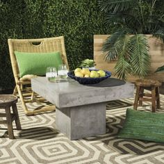 Make a statement in your living room or in your garden with the Tallen Concrete Indoor/Outdoor Coffee Table from Safavieh. This concrete table will make a bold accent piece in your space with its generously sized table top and clean finish. Concrete Coffee Table, Coffee Table Grey, Outdoor Coffee Tables, Round Coffee Table, Modern Coffee Tables, Concrete Outdoor Table, Patio Tables, Patio Sets, Colorful Furniture