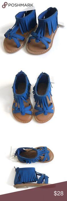 GAP Fringe Sandals Royal blue, faux suede fringe sandals with criss cross straps at the toe, back zip closure. NWT. GAP Shoes Sandals & Flip Flops