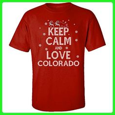 Keep Calm And Love Colorado State Ugly Christmas Sweater - Adult Shirt 3xl Red - Cities countries flags shirts (*Amazon Partner-Link)