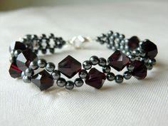 Swarovski Crystal Bracelet Hematite Beaded by CharlotteJewelryBox, $47.00