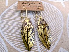 Antique Brass Earrings with Hand Printed Treedom Oblong by Hollyhawk on Etsy https://www.etsy.com/listing/93146888/antique-brass-earrings-with-hand-printed