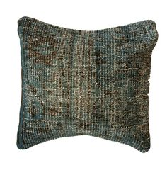 $89.99 Overdyed Faded Denim Pillow: Add a global accent to your bed or sofa with this overdyed faded denim blue pillow. Hand-knotted in Turkey from vintage overdyed rugs, this wool pillow is truly a one-of-a-kind.