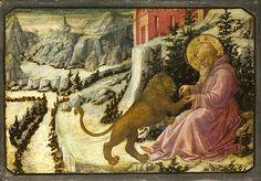 Saint Jerome And The Lion - Predella Panel  Fra Filippo Lippi and Workshop