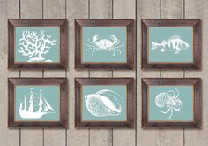 INSTANT DOWNLOAD Green Seafoam White Coral Sea Shell Crab Ship Fish Set of 6 Printable Bathroom Print Art Wall Decor Ocean Nautical Beach