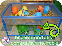 Clean up is a easy when you put   dust pans and brooms under the table so students can help! Pocket of Preschool