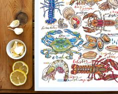 Shellfish illustration. Seafood print. Kitchen decor. by LouPaper