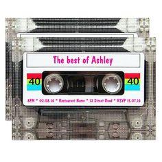 Funny DJ 80s Cassette Tape 40th Birthday Invitation Funny Birthday Invitations, 40th Birthday Cards, 40th Birthday Parties, Custom Invitations, Invites, Wedding Invitations, Happy Birthday, Facebook Birthday, Disco Birthday Party