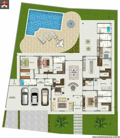 Pinterest: @claudiagabg | Casa 4 cuartos 1 estudio abierto bar piscina 1 habitación estudiantil