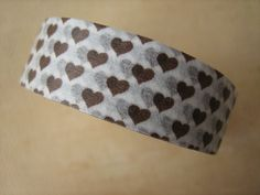 Washi Tape  Single Roll  White with Brown Hearts  by HazalsBazaar, $5.00
