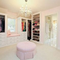 dressing room closet design ideas with window seat Walking Closet, Walk In Closet Design, Closet Designs, Wardrobe Design, Master Closet, Closet Bedroom, Closet Space, Huge Closet, Closet Office