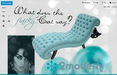 """What does the finicky Cat say?"" (spoof of the ""What does the Fox say"" video). Polyvore and 2modern contest entry. For some reason it turned out tiny, here's a screen shot of it in their photo editor (it was actually difficult to create in, wish I could have used photoshop). The chaise legs simulate the cats legs and feet. Love the couch! Elizabeth Samt Chaise Lounge #katyperry #2modern #polyvore #cat #blackcat #ad #mod #modern #chaise #giolovesyou"