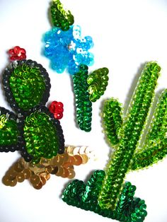 Sequin Patches Set of cacti plants (a sahuaro, prickly pear cactus and a blue flower)
