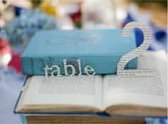 vintage literary and book themed wedding table number