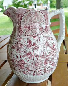 Beautiful old English Staffordshire 6.75 in tall milk pitcher