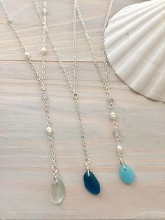 Sea Glass Lariat Necklace - Beaded Lariat Necklace - Beach Glass Necklace - Beaded Y Necklace - Sea Glass Jewelry - Pearl Lariat Necklace