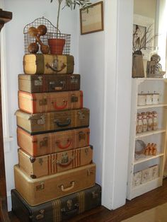 Must Love Junk ~ Home Tour ~ Adoring this Vintage Suitcase Collection Tower!