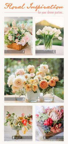floral inspiration for dinner parties - Sugar and Charm - sweet recipes - entertaining tips - lifestyle inspiration Sugar and Charm – sweet recipes – entertaining tips – lifestyle inspiration Votive Centerpieces, Vases, Gatsby Party, Dining Decor, Retirement Parties, Floral Arrangements, Flower Arrangement, Flower Crafts, Wooden Boxes