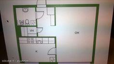 1 room + kitchen + small walk in closet (38,5m2) / 1 huone, keittiö ja pieni vaatehuone (38,5m2) #yksiö #tehoneliöt #pohjapiirros #floorplan Floor Plans, Diagram, Floor Plan Drawing, House Floor Plans