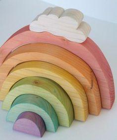 jouet en bois, arc en ciel modulable