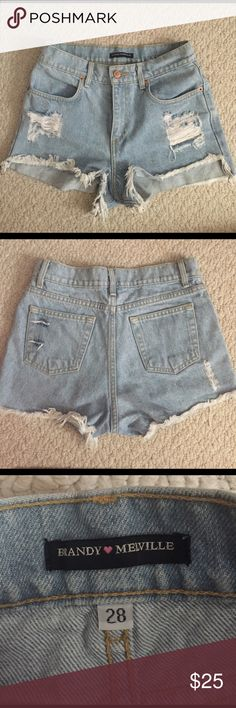 BRANDY MELVILLE HIGHWAISTED DISTRESSED SHORTS Brandy Melville high waisted denim shorts, says size 28 but best fits 25-26! Super cute and short! Covered the butt pretty well though! Perfect for the upcoming summer and for festivals! NO HOLDS NO TRADES PRICE FIRM ALL PURCHASES COMES WITH STICKERS, BUNDLES WELCOME! Brandy Melville Shorts Jean Shorts
