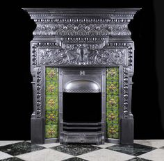 Antique Art Nouveau cast iron fireplace mantel Fireplace Mantles, Cast Iron Fireplace, Fireplace Surrounds, Fireplace Design, Gas Fireplace, Fireplaces, Art Nouveau, Art Deco, Antique Stove