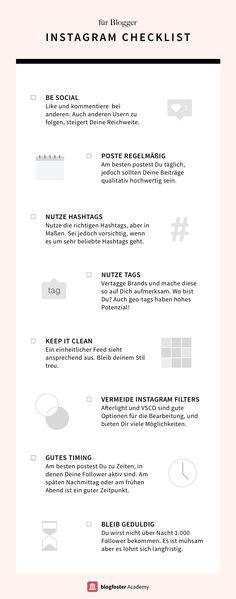 Bist Du auf der Suche nach Tipps für mehr Follower und Likes auf Instagram? Diese Checkliste zeigt dir die Grundregeln für Erfolg auf Instagram. Lies jetzt den ausführlichen Artikel auf der blogfoster Academy und finde heraus, wie Du die richtigen Hashtags und Filter für den perfekten Instagram Feed findest!