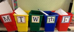 M-F tubs Organizing Papers, Paper Organization, Flip Clock, Tubs, Classroom Management, Classroom Ideas, Back To School, Home Decor, Bathtubs