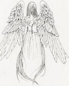 Tattoo-Design-Engel-Mädchen mit Flügeln-Vorlage
