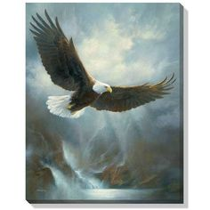 This wrapped canvas features original art by Russ Docken and offers the look and feel of an original wildlife painting at a reasonable price. This breathtaking canvas arrives ready to hang unframed, a Tribal Tattoos, Eagle Tattoos, Tattoos Skull, Celtic Tattoos, Wolf Tattoos, Sleeve Tattoos, Wildlife Paintings, Wildlife Art, Eagle Artwork