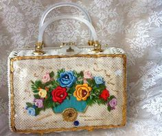 Vintage wicker and floral box bag